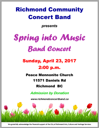 Spring into Music Band Concert, Peace Mennonite Church, 11571 Daniels Road, Richmond, B.C.